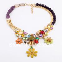 Fashion New Jewelry Luxury Mix Crystal Flower Pendant Statement Necklace Vintage Necklace chunky gold necklace bib long necklace
