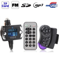 Car Bluetooth Handfree MP3 Player FM Transmitter with Steering Wheel Remote, Support USB Flash Disk SD / MMC/ TF Card