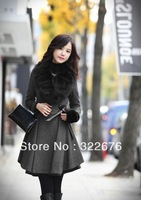 Fashion Women's Winter Moveable Fur Collar Fake Leather Belt Decorated Flouncing Lap Windproof Warm Long Wool Coat Deep Grey M/L