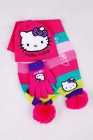 FREE SHIPPING New design lovely winter baby girls cartoon hello kitty scarf set children warm rainbow scarf + wool hat + glove