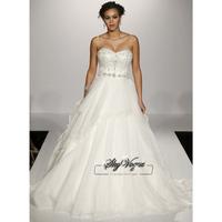 13W012 Strapless A-Line Organza Court Train Gorgeous Luxury Unique Brilliant Bridal Wedding Dress Free Shipping