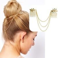 Min $15(can mix)Chic Gold Tone Leaf Hair Cuff Chain Comb Jewelry Headpiece Headband Head Piece