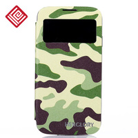 Fashion Camouflage s4 printing leather set window protective case i9500 colored drawing holsteins series