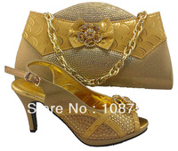 Italy shoes,Woman shoes,shoes with matching bags, Italy designs, lady's shoes,Free shipping,SB171 gold  euro size39-42