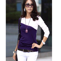 2013 Women's Lady T-Shirt Splice Casual Patchwork Round Neck Long Sleeve T-Shirt 5 Colors free shipping 3619
