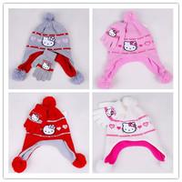 2013 Winter Newest Design! 3sets/lot Baby Girl polar fleece gorro Cartoon Hello Kitty Bomber Hats Knitted caps+gloves 2pcs set