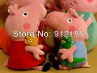 "Retail 2pcs/set 30CM 10 "" Peppa Pig Plush Toys with Teddy Bear George Pig Stuffed Animals Peppa Doll Plush Toy Free Shipping"