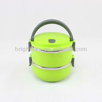lunch box,color lunch box two layer plastic stainless steel