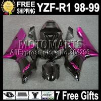 +7 gifts For 98-99 YAMAHA YZF R1 Rose !! YZF-R1 YZFR1 YZF1000 YZF 1000 C#98763 Rose flames black 98 99 1998 1999 Fairings Kits