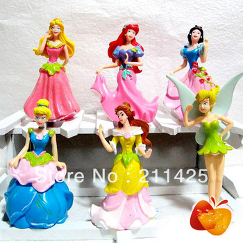Wholesale Lot of 6 New Hot classic Snow White + Tinker Bell Toys Dolls Figures as gift Freeshipping 8-9cm  Freeshipping