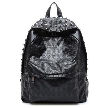 Skull bag 2013 PU casual backpack fashion vintage bag punk rivet backpack school bag