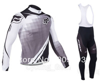 2013 Gray CLB226  Long Sleeve Cycling Jersey(Upper)+Bib Pant(Lower)/No Fleece Inside/Biking Jackets/Cycle Clothes/Sport Clothing