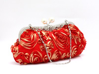 Bronzier rose festive flower bags bridal small bags women's handbag evening small bags red