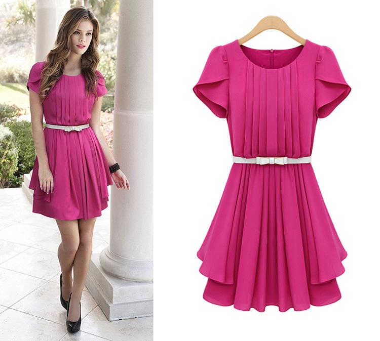 S-XXXL 2014 Plus SIze New Fashion Women's Summer Short-sleeve Pleated Ruffle Chiffon Dress &Waistbelt(China (Mainland))