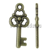 Free shipping!!!Zinc Alloy Key Pendants,Gothic, antique bronze color plated, hollow, nickel, lead & cadmium free, 10x22.50x2mm