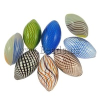 Free shipping!!!Blown Lampwork Beads,Statement, Oval, handmade, mixed colors, 19x17mm-27x13mm, Hole:Approx 1-2mm, 100PCs/Bag