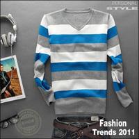 Free shipping 2013 Men's fashion striped sweater Winter Men's cotton V-neck sweater Comfortable sweater men  Striped pullover