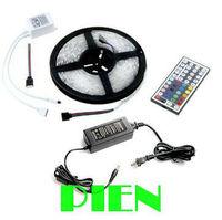 RGB LED Strip Flexible Light 5050 60LED/M 300 LED 5M Ribbon Tape 12V+44 Key RGB controller+6A Powersupply by Express 5set/lot