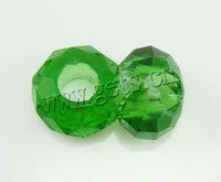 Free shipping!!!European Crystal Beads,Top Selling, Rond, without troll, Fern Green, 14x7mm, Hole:Approx 6mm, Length:14 Inch
