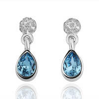 free shipping 18 K gold plated earrings Genuine Austrian crystals earrings,Nickle free antiallergic factory prices kwv ul E109