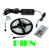 RGB LED Strip Flexible Light 5050 30LED/M 150 LED 5M Ribbon Waterproof 12V+44 Key RGB controller+4A Powersupply by DHL 50set/lot