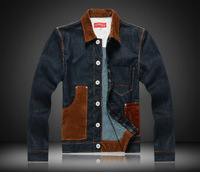 Free shipping 2013 new denim jacket fashion denim jacket fashion splicing Slim Fit Jeans turn-down collar