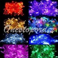 Xmas Multicolour RGB 100 LEDs 10M LED Fairy String Strip Lights Lighting for Christmas 220V AC Free shipping 1 set/lot