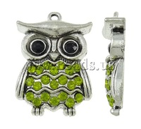 Free shipping!!!Zinc Alloy Animal Pendants,2013 men, Owl, antique silver color plated, with rhinestone, nickel