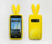 For nokia   x7 mobile phone case protective case rabbit ears silica gel sets rabbit hair ball