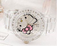 hello kitty transparent crystal bow student table girls watch plastic sheet YWJR20pcs