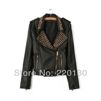 Free shipping fashion design pop punk rivet zipper of PU leather