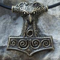 Thors Schonen  Raven Mjollnir Thor's Hammer Brass Pewter Pendant Thor Odin