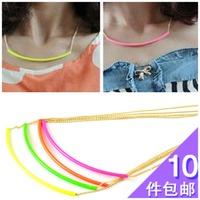 Fashion trend accessories neon yellow neon powder short design female exaggerated necklace curviplanar chain 4370