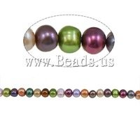 Free shipping!!!Baroque Cultured Freshwater Pearl Beads,Jewelry 2013 Fashion, Round, mixed colors, 8-9mm, Hole:Approx 1mm