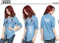 2013 new spring autumn women slim cotton denim shirt, lady vintage cowboy shirt, 2 color option