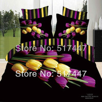 Purple Yellow tulip flowers bedding set 4pcs black duvet quilt cover bed sheet 3d printed for king queen size free shipping