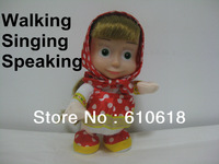 Free Shipping  Russian Walking Singing Speaking Any Language Masha And Bear Dolls for Girls Children Best Gifts Toys
