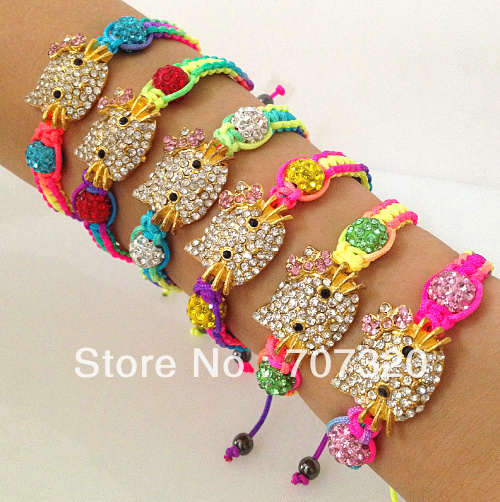 50% off wholesale kids multicolour hello kitty macrame shamballa bead bracelets / bangle with free shipping(China (Mainland))