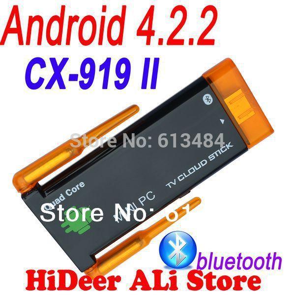 Quad core Rk3188 CX-919II CX 919 II mini pc Dual wifi antenna android 4.2.2 bluetooth built in google android tv stick CX-919 II(China (Mainland))