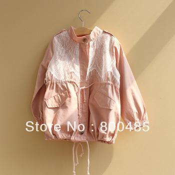 2013 new autumn Children autumn wear tighten waist lace Children's coat girl Tooling windbreaker Factory wholesale