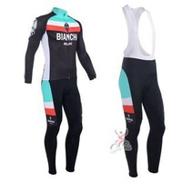 Free shipping HighQualit 2013 Bianchi WINTER Long Sleeve Cycling Jersey+Bib pants /bike Jersey/cycling clothes