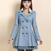 Free shipping Autumn double breasted medium-long slim trench female