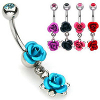Free Shipping Body Jewelry Titanium Needle Anti-allergic Vintage Umbilical Nail Ring Double Rose Navel Rings DD006