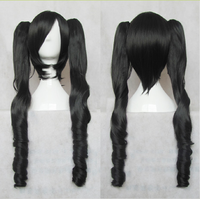 Miku Black 55cm Culy Removable Chip Ponytails anime Cosplay Costume Wig Free Shipping