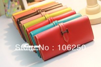 Free shipping 2013 hot selling fashion women Long Wallet with H buckle, cheap price, high quality, multi-color for your choice