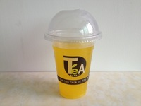 Free shipping, Thickening disposable plastic cup pearl milk tea cup cold drink cup juice cup 100SET 400ml lid