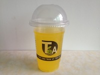 Free shipping, Thickening disposable plastic cup pearl milk tea cup cold drink cup juice cup 100 500ml lid