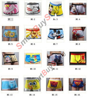 Free shipping 10pcs/lot High quality 100% cotton cartoon men's Boxer / men underwear (Mix 28 Styles) Lovely&Sexy