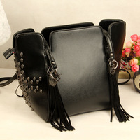 free shipping good quality  2013 female punk skull rivet bag tassel women's handbag shoulder bag messenger bag