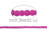 Free shipping!!!Crackle Glass Beads,Wedding Jewelry, Round, fuchsia pink, 4mm, Hole:Approx 1.5mm, Length:31 Inch, 220PCs/Strand